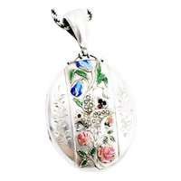 Antique Victorian Silver And Enamel Locket With A Silver Chain Birmingham 1882