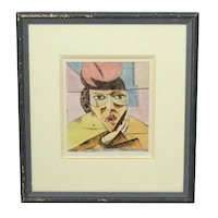 Early XX c. Modern Art French Watercolour Painting On Paper Portrait Study Signed