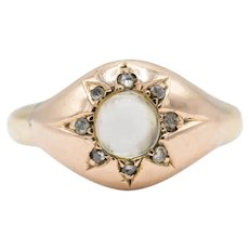 Antique Victorian 18ct Gold Moonstone And Diamond Engraved Ring