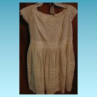 Antique Mid 1800s White on White Work Baby Toddler Dress