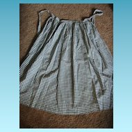 Antique Early Forest Green Checked Apron Country Primitive