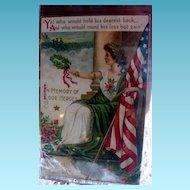 Rare Lady Liberty Honors Heros Memorial Day Postcard
