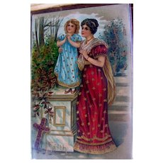 Germany Highly Embossed Postcard Religious Lady and Child
