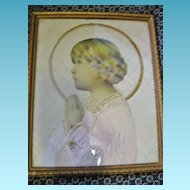 Childs Room Wall Art  One of A Kind Framed Praying Child