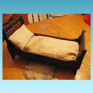 Antique Victorian Doll Bed Folding Beauty with Mattress and Pillow