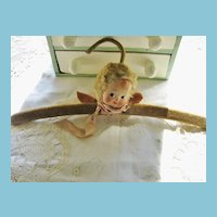 Pressed Cloth Painted Face Angel Doll Head Hanger RARE!!