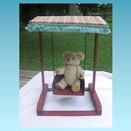 Vintage Old Wooden Doll Swing with Awning