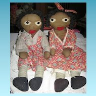 Little Black Sambo & Miranda Rare 1940s Era Handmade Black Rag Dolls