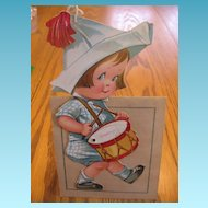 Rare Valentine Novelty Drummer Boy with Original Hankie Hanky