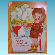 Vintage Mechanical Boy Scout Valentine SOS