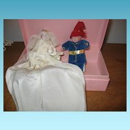 Miniature Bride & Groom Dolls with Handmade Clothing Early 1900s