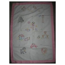 Adorable Pristine Embroidered Crib Cover Pup Peeps Kitty
