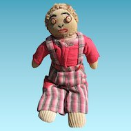 Depression Era Boy Sock Doll with Antique China Button Eyes!!
