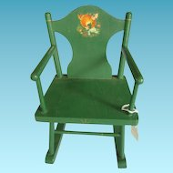 Green Painted Wooden Doll Rocking Chair with Deer