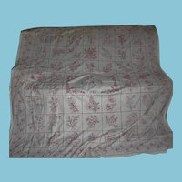Victorian Redwork or Turkey Red Story Quilt Top