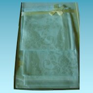 Early 1900s Damask Tablecloth and Napkins Gift Set