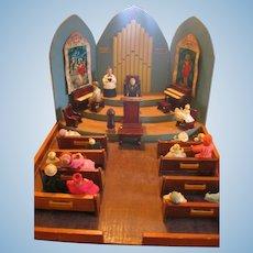 Amazing Diorama Handmade Miniature Church with Furniture and People