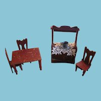 Antique Red Painted Doll House Table Chairs and Cupboard
