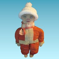 Santa Rag Doll 1940s Jolly Old Fellow in Santa Outfit