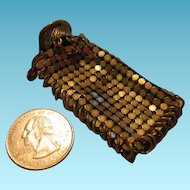 Miniature Gold Tone Metal Mesh Doll Purse