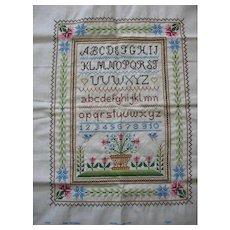 Vintage Hand Stitched Alphabet Sampler to Frame