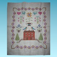 Vintage Sampler with Pa Dutch Flair