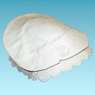 1800s White on White Tam O Shanter Type Bonnet Herr Estate