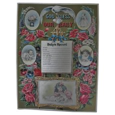 Antique Lithograph God Bless Our Baby Victorian Era Record Keeper