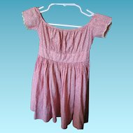 Antique Summer Red Calico Baby Dress Museum Quality