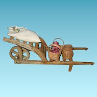 Wooden Toy Handmade Garden Cart Wheelbarrow for Teddy or Doll