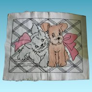Kitten and Pup Vintage Vogart Design Adorable Pillow Top