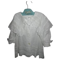 Victorian Childs White Summer Coat with Large Collar