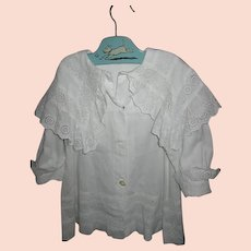 Victorian Childs Stunning White Coat with Large Collar
