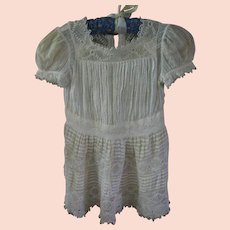Intricate Irish Crochet and Dotted Swiss Antique Summer Baby Dress