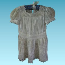 Intricate Irish Crochet and Dotted Swiss Antique Summer Baby Dress