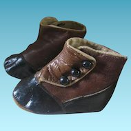 Tiny Leather 2 Toned High Top Button Baby Shoes Perfect for Antique Doll