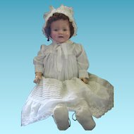 "Baby Mama Doll Marilee? Big 27"" Tall Cloth Body Tin Eye Compo Doll"