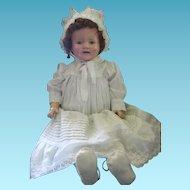 "Baby Mama Doll Marilee? Big 27"" Tall Cloth Body Tin Eye Compo Doll"