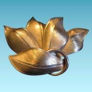Vintage Coro Wide Leaf Brooch