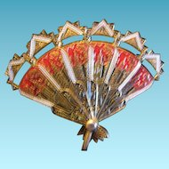 Vintage Hand Fan Folding Pendant from Spain