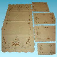 Vintage Vanity Dresser Set 6 Pieces Linens with Cutwork