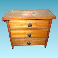 Miniature 3 Drawer Wooden Dresser for Doll Display