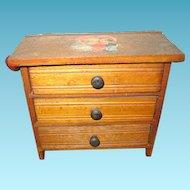 Miniature 3 Drawer Wooden Dresser for Doll Display