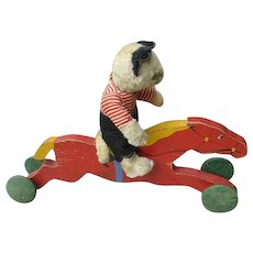 Vintage Race Horse Wooden Toy Ride On for Dolls or Critters - Red Tag Sale Item
