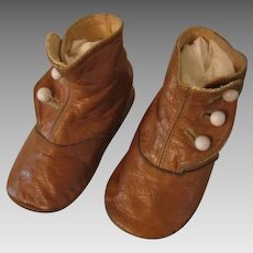 Antique Leather Hightop Button Baby Shoes