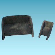 Old Handmade Miniature Upholstered Sofa and Chair Sewing Notions