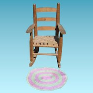 Vintage Doll Rocking Chair Signed Great Smoky Mountains