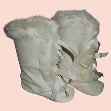 16e14b7598b61 Vintage Baby Booties - Old Blue Felt Shoes with Rabbit Fur Trim ...