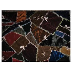 Rich Velvet Crazy Quilt 1923 Lancaster County Pa Mennonite Beauty