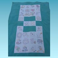 Vintage Embroidered Youth or Crib Bedspread with Animals